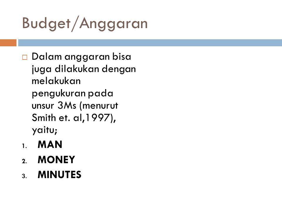 Budget/Anggaran  Dalam anggaran bisa juga dilakukan dengan melakukan pengukuran pada unsur 3Ms (menurut Smith et. al,1997), yaitu; 1. MAN 2. MONEY 3.