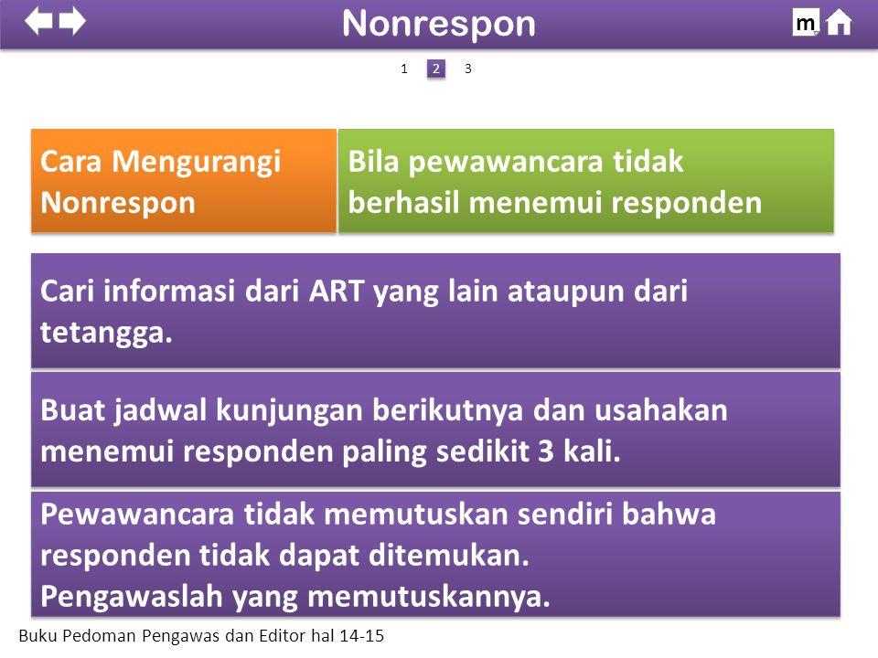 Cari informasi dari ART yang lain ataupun dari tetangga. Cari informasi dari ART yang lain ataupun dari tetangga. Pewawancara tidak memutuskan sendiri