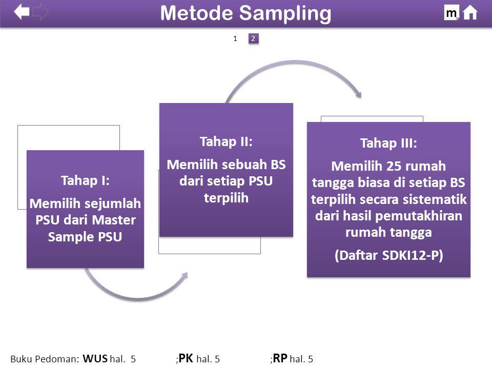 100% Catatan: Tahap I dan II dilakukan di BPS Pusat (Subdit Pengembangan Desain Sensus dan Survei). Tahap III dilakukan di BPS Povinsi.. Metode Sampli