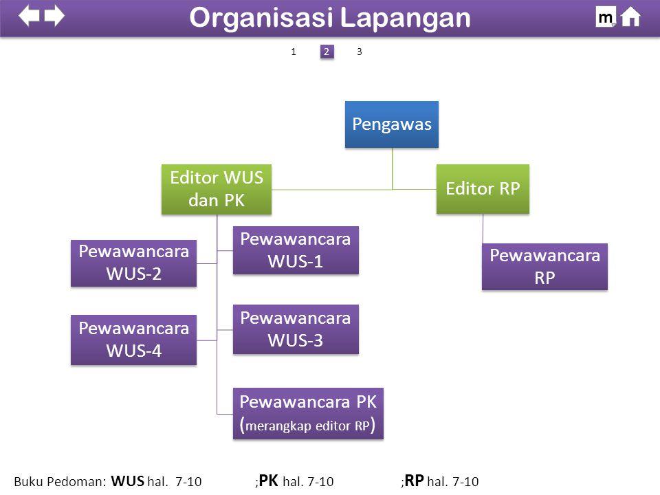 Pengawas Editor WUS dan PK Pewawancara WUS-1 Pewawancara WUS-2 Pewawancara PK ( merangkap editor RP ) Pewawancara WUS-4 Pewawancara WUS-3 Editor RP Pe