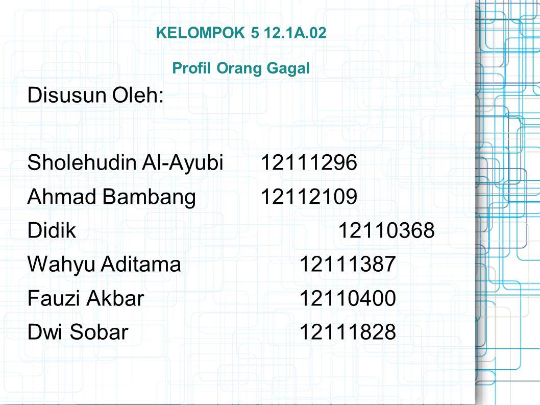 KELOMPOK 5 12.1A.02 Profil Orang Gagal Disusun Oleh: Sholehudin Al-Ayubi 12111296 Ahmad Bambang 12112109 Didik 12110368 Wahyu Aditama 12111387 Fauzi Akbar 12110400 Dwi Sobar 12111828