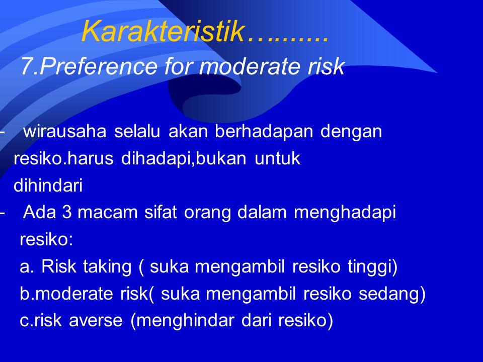 Karakteristik…....... 7.Preference for moderate risk -wirausaha selalu akan berhadapan dengan resiko.harus dihadapi,bukan untuk dihindari -Ada 3 macam