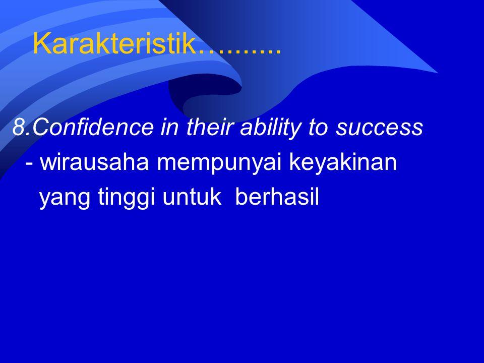 Karakteristik…....... 8.Confidence in their ability to success - wirausaha mempunyai keyakinan yang tinggi untuk berhasil
