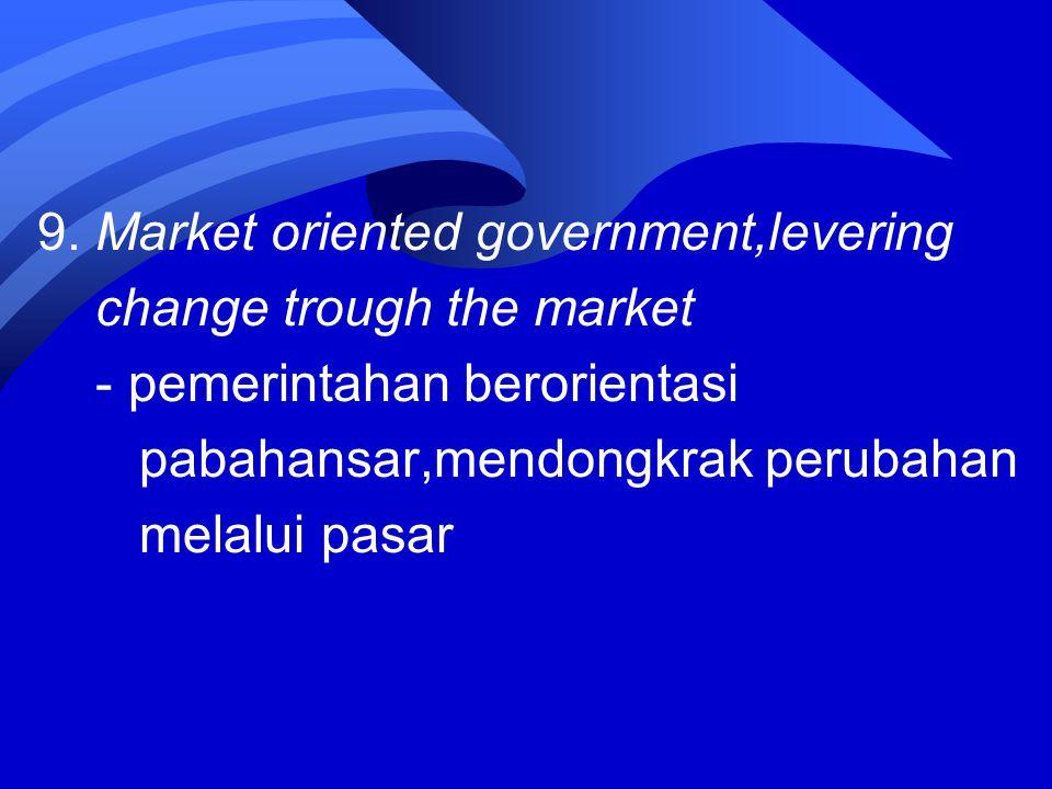 9. Market oriented government,levering change trough the market - pemerintahan berorientasi pabahansar,mendongkrak perubahan melalui pasar