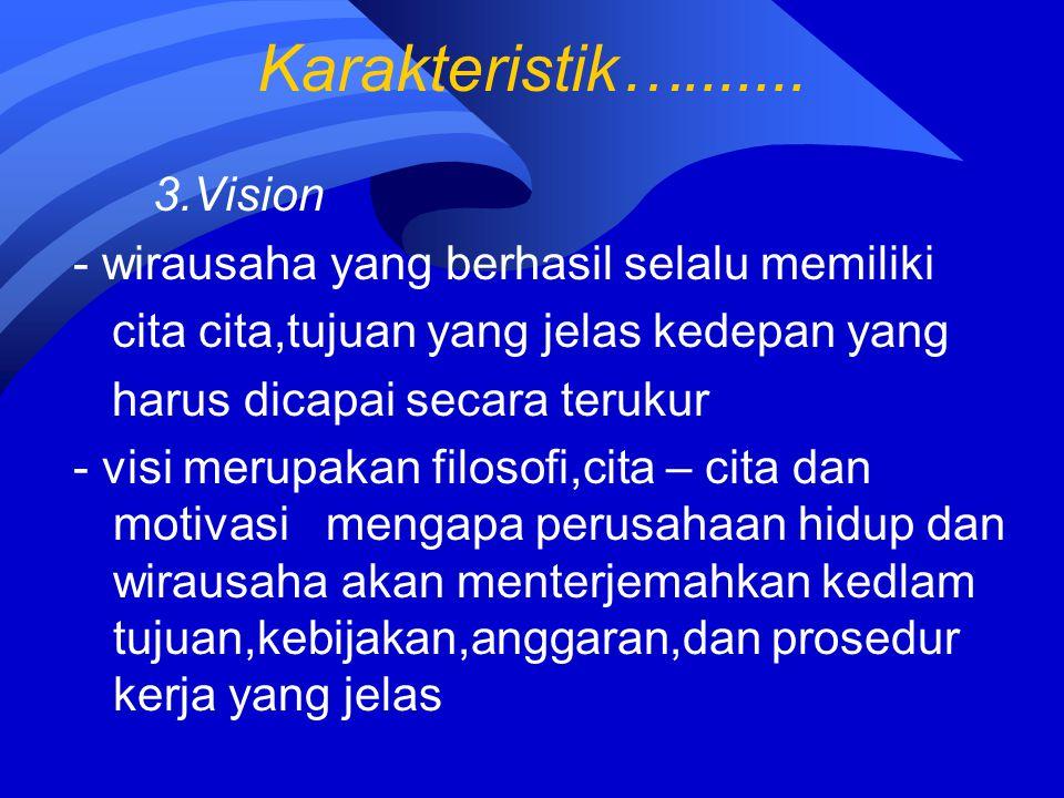 Karakteristik…....... 3.Vision - wirausaha yang berhasil selalu memiliki cita cita,tujuan yang jelas kedepan yang harus dicapai secara terukur - visi