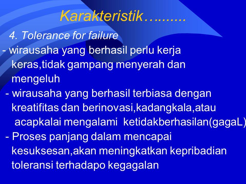 Karakteristik…....... 4. Tolerance for failure - wirausaha yang berhasil perlu kerja keras,tidak gampang menyerah dan mengeluh - wirausaha yang berhas