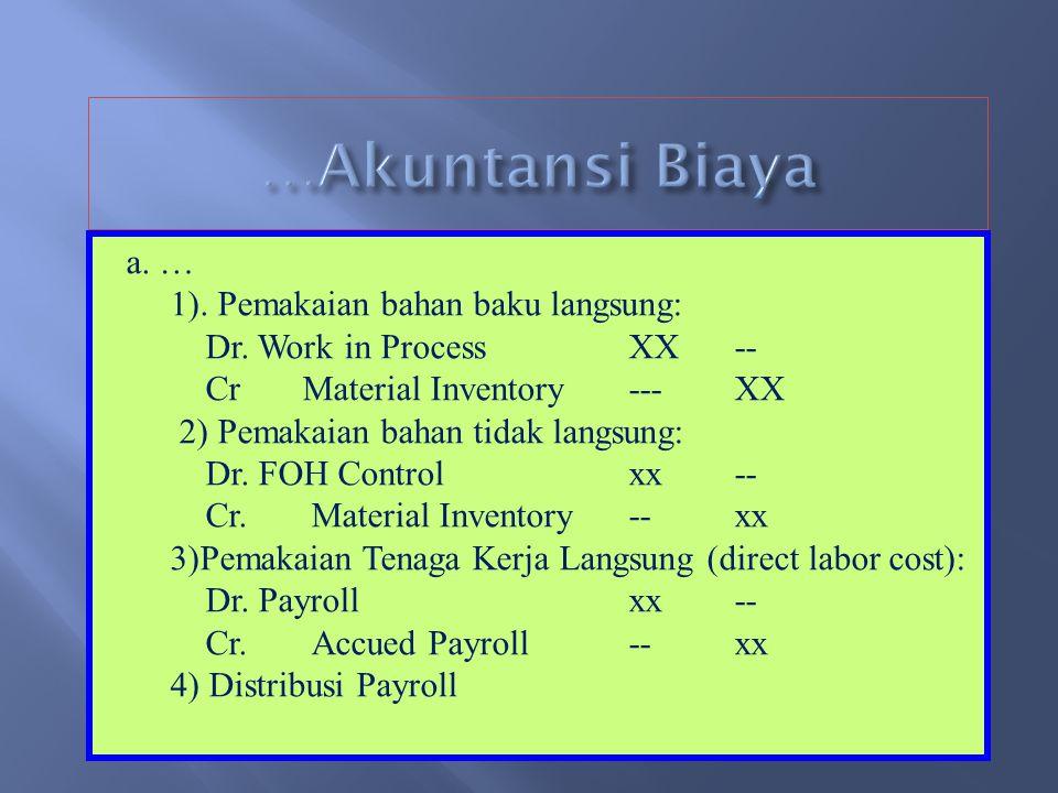 8.COST ACCUMULATION a. Job order costing. Cost diakumulasikan untuk produk pesanan, batch, atau lot. Biaya produksi terdiri dari DM, DL, FOH. Untuk FO