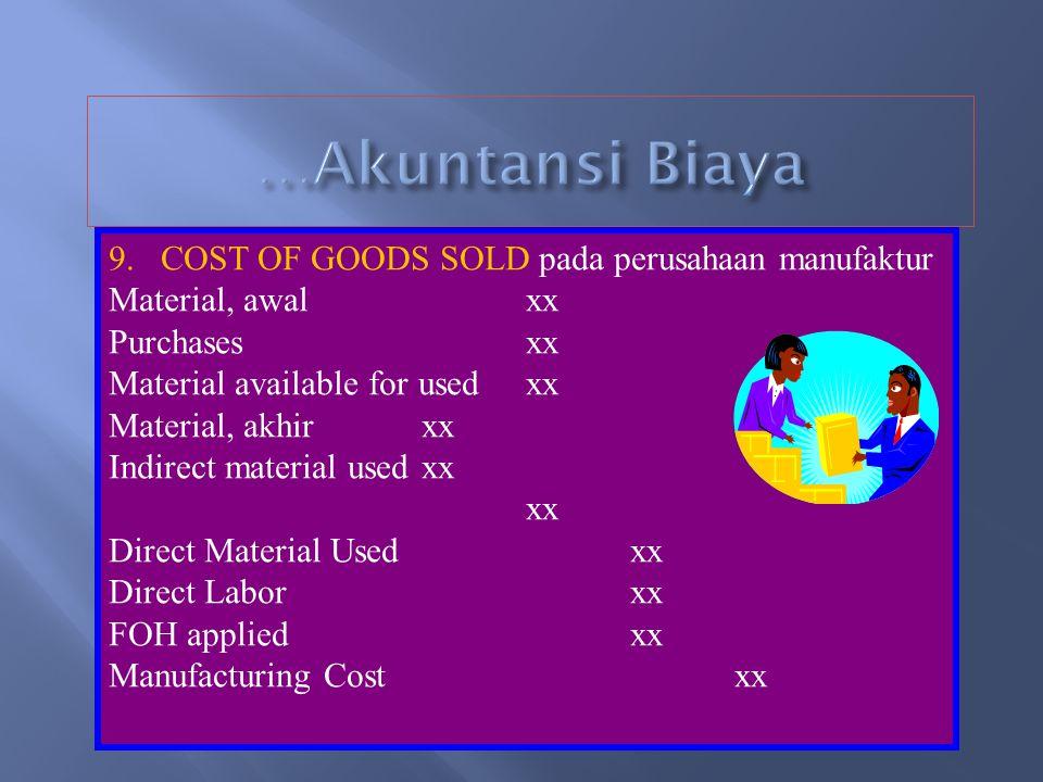 8.b….. Finished goods dalam process costing dihitung dengan menggu- nakan UNIT EQUIVALENT, yang dihitung dengan rumus: Unit Finished Goods + WIP-Akhir
