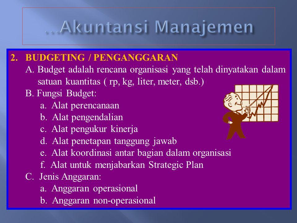 1.PERBEDAAN AK. MANAJEMEN DENGAN AK. KEU- ANGAN Perbedaan Akuntansi Manajemen dengan Akuntansi Keuangan Akuntansi Manajemen: 1.Menyediakan informasi u