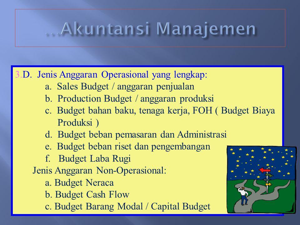 2.BUDGETING / PENGANGGARAN A. Budget adalah rencana organisasi yang telah dinyatakan dalam satuan kuantitas ( rp, kg, liter, meter, dsb.) B. Fungsi Bu