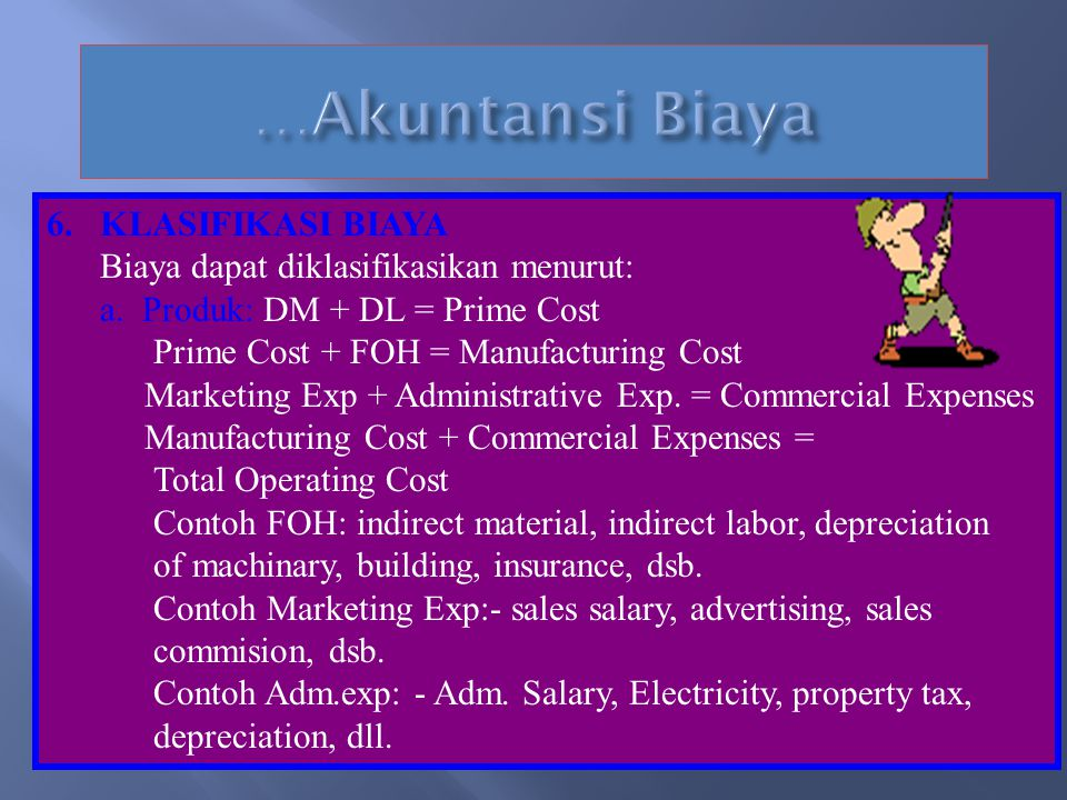 6.KLASIFIKASI BIAYA Biaya dapat diklasifikasikan menurut: a.