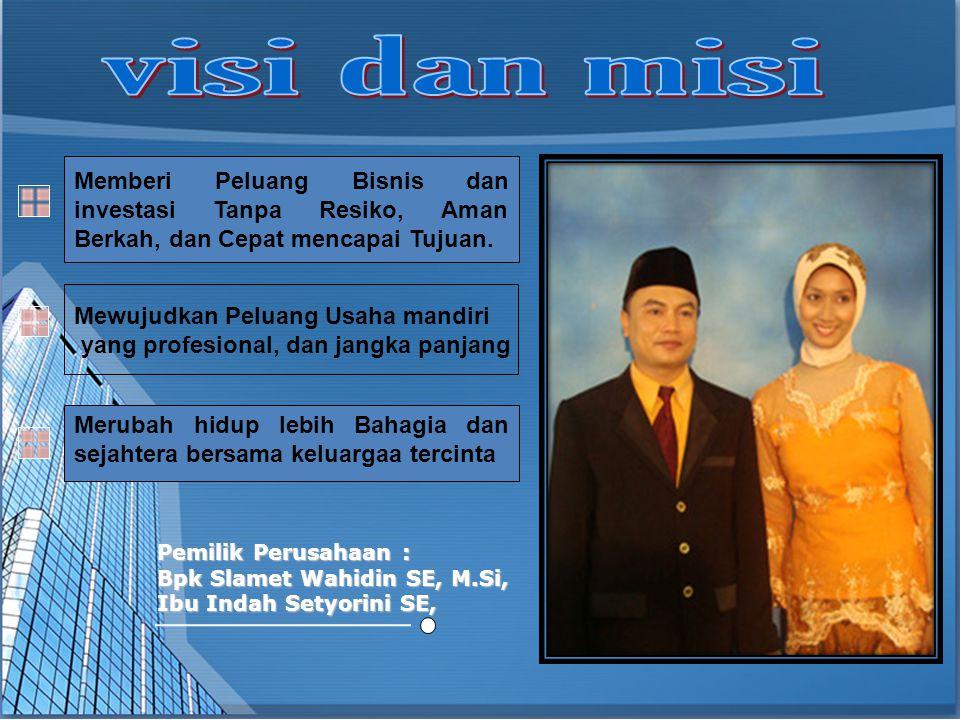 Pemilik Perusahaan : Bpk Slamet Wahidin SE, M.Si, Ibu Indah Setyorini SE, Merubah hidup lebih Bahagia dan sejahtera bersama keluargaa tercinta Memberi