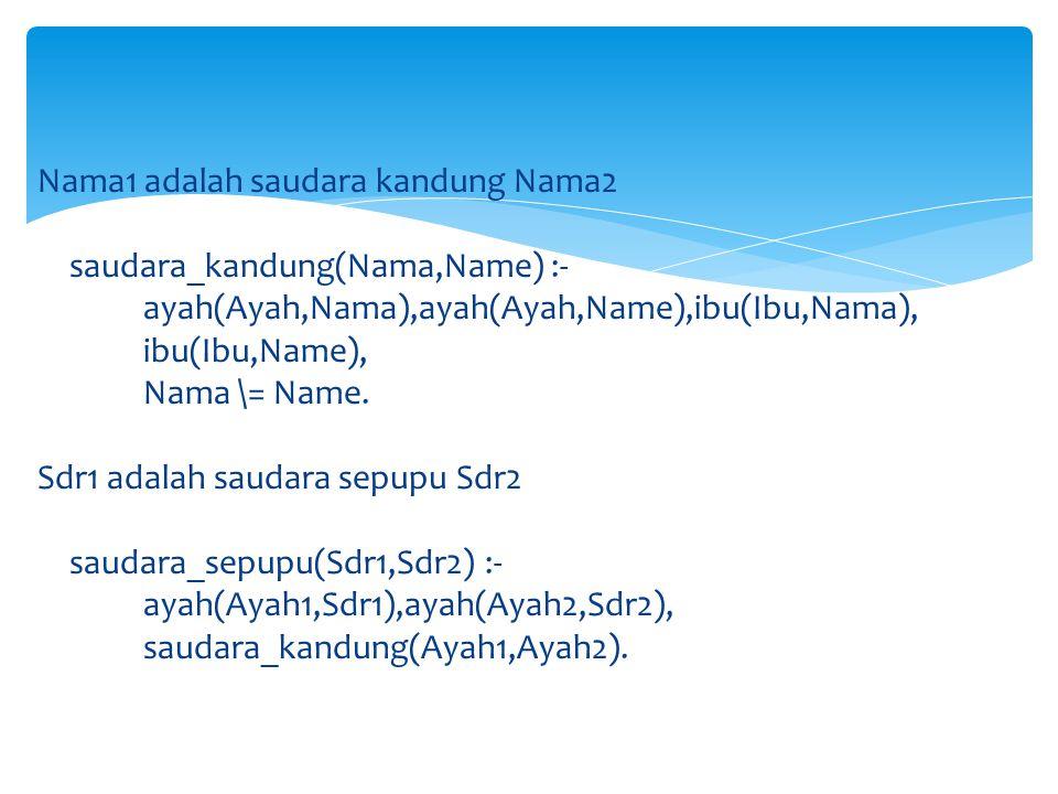 saudara_sepupu(Sdr1,Sdr2) :- ayah(Ayah,Sdr1), ibu(Ibu,Sdr2), saudara_kandung(Ayah,Ibu).