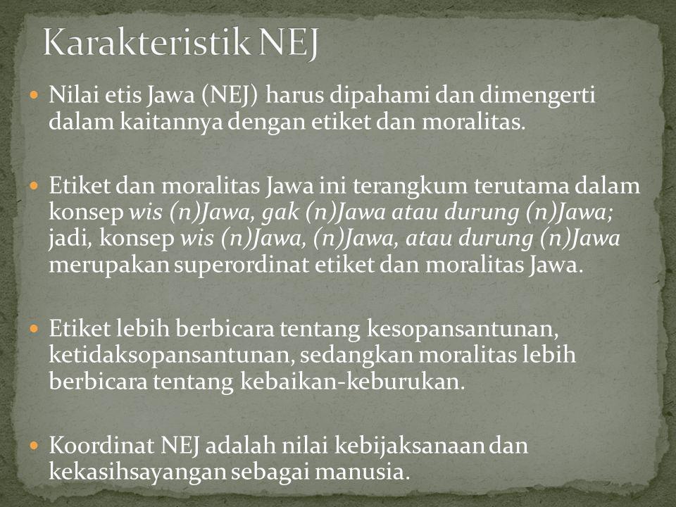 Nilai etis Jawa (NEJ) harus dipahami dan dimengerti dalam kaitannya dengan etiket dan moralitas.
