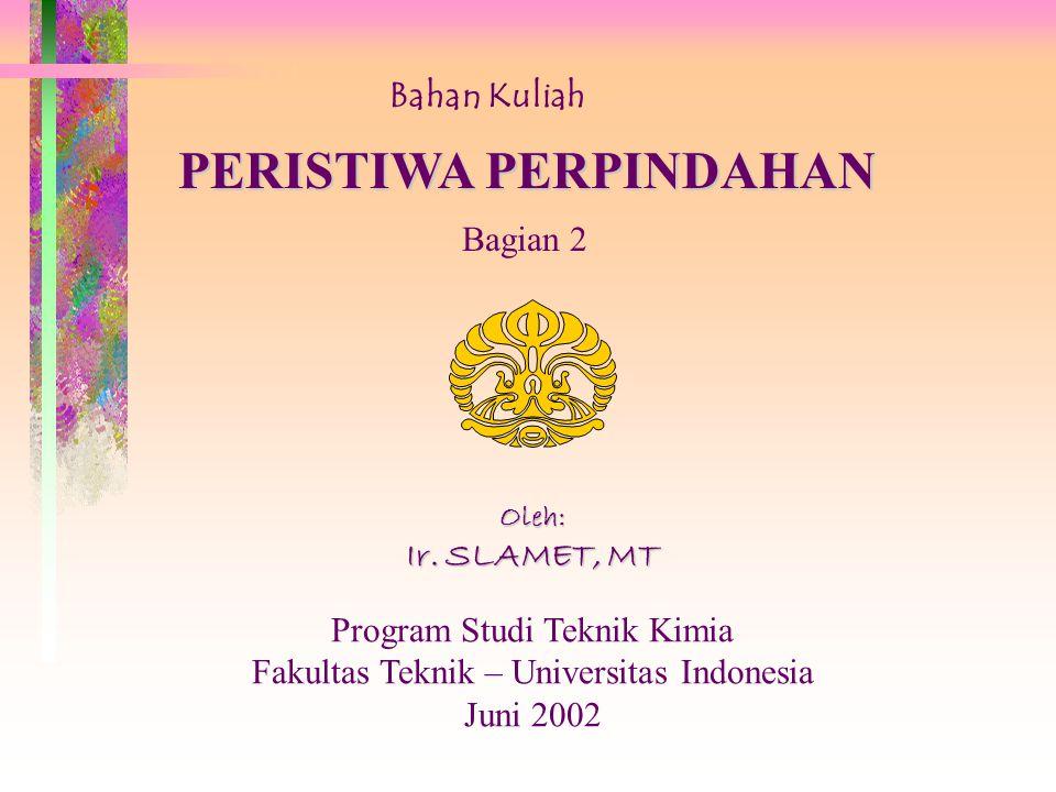 Bahan Kuliah PERISTIWA PERPINDAHAN Bagian 2 Oleh: Ir.