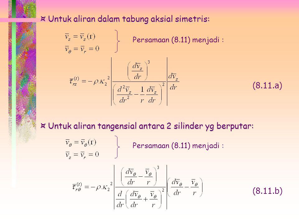 Persamaan-persamaan semi-empiris untuk ( ) (1). Boussinesq's Eddy Viscosity (2). Prandtl's Mixing Length (3). Von Karman's Similarity Hypothesis (8.9)
