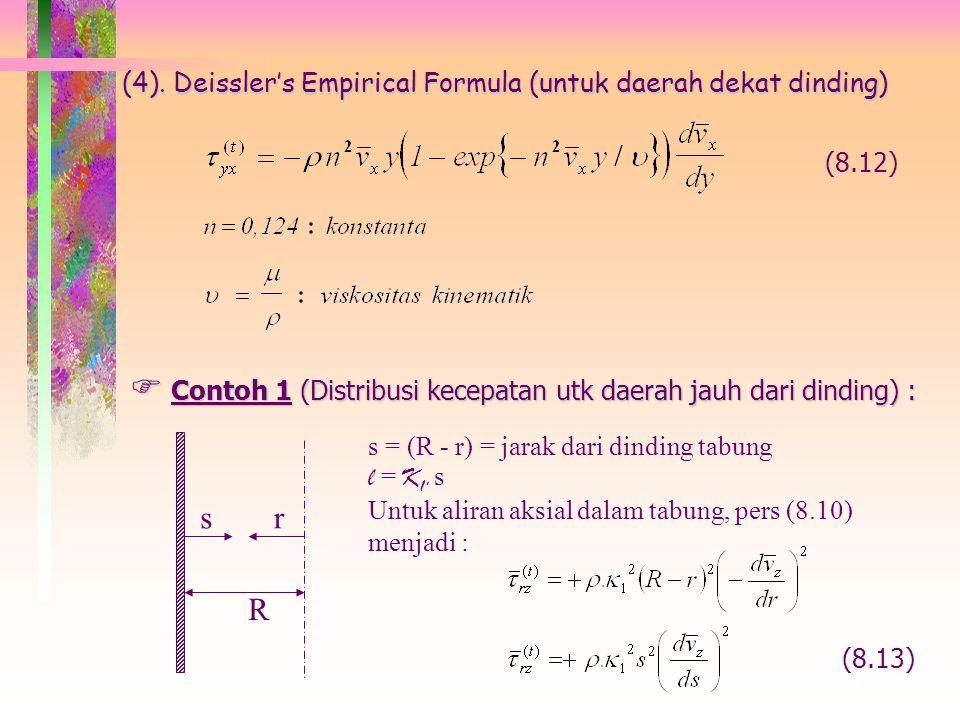 ¤ Untuk aliran dalam tabung aksial simetris: Persamaan (8.11) menjadi : (8.11.a) Persamaan (8.11) menjadi : (8.11.b) ¤ Untuk aliran tangensial antara
