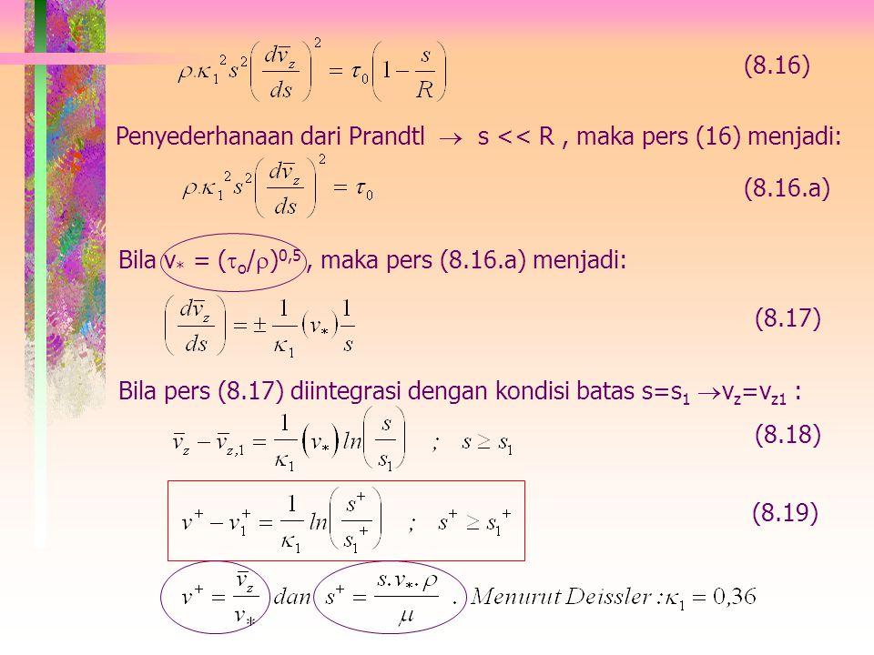 Pers gerak dari pers (8.8), utk dan fluida incompressible: (lihat Tabel 3.4-3 atau pers. 2.3-10 pada buku 'Bird') (8.14) Pers (8.14) diintegrasikan dg