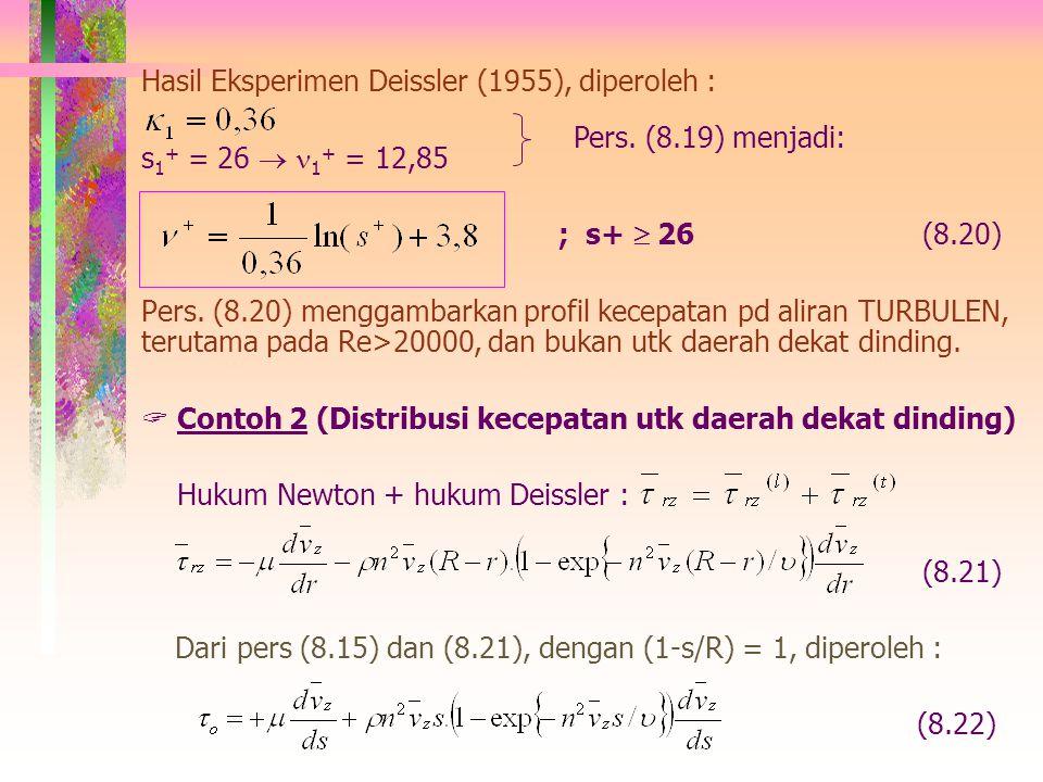 (8.16) Penyederhanaan dari Prandtl  s << R, maka pers (16) menjadi: (8.16.a) Bila v * = (  o /  ) 0,5, maka pers (8.16.a) menjadi: (8.17) Bila pers