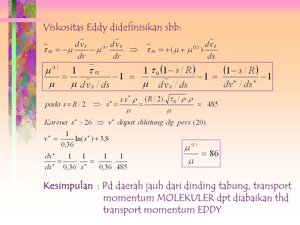 8.22) diintegrasi dari s=0 s/d s=s, diperoleh pers. dlm variabel tak berdimensi sbb: ; 0  s +  26 (8.23) # Untuk pipa panjang dan halus  n = 0,124