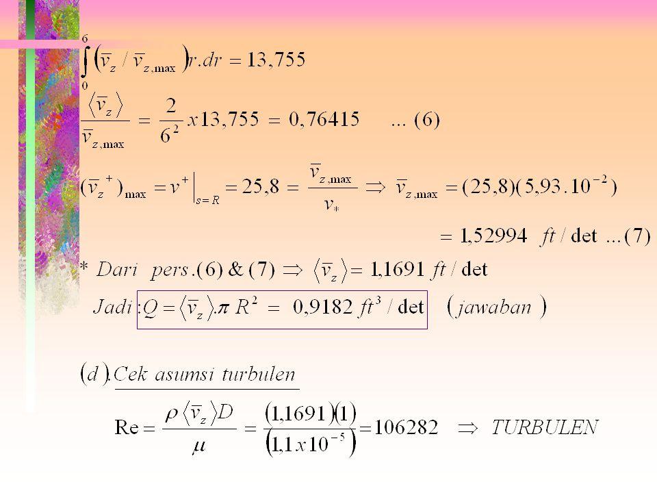 (e). Q = ?   diperoleh dg mengin- tegrasi profil kecep.:  diselesaikan dg integrasi numeris (Simpson Rule): Utk N buah increment (N genap):
