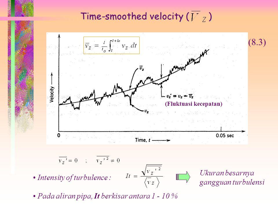 Time-smoothed velocity ( ) (Fluktuasi kecepatan) Intensity of turbulence : (8.3) Ukuran besarnya gangguan turbulensi Pada aliran pipa, It berkisar antara 1 - 10 %