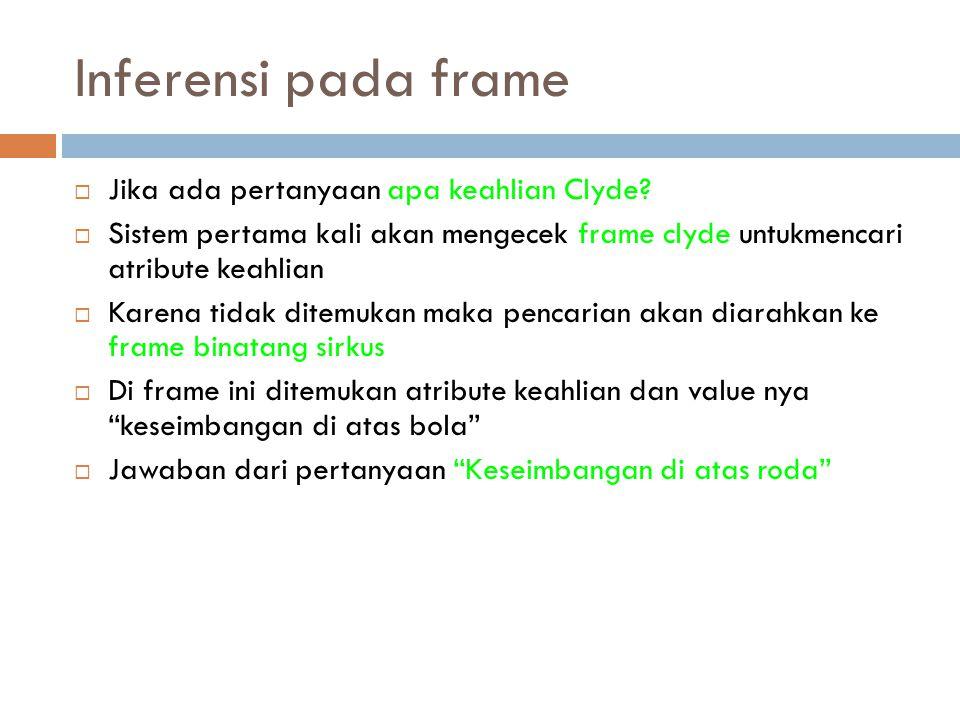 Inferensi pada frame  Jika ada pertanyaan apa keahlian Clyde?  Sistem pertama kali akan mengecek frame clyde untukmencari atribute keahlian  Karena
