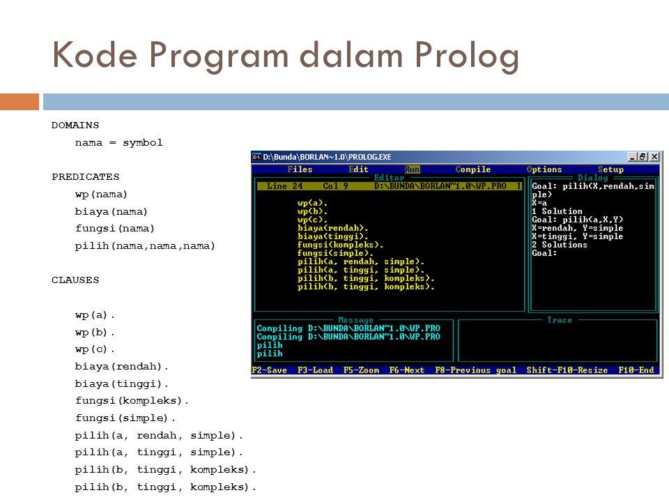 Kode Program dalam Prolog DOMAINS nama = symbol PREDICATES wp(nama) biaya(nama) fungsi(nama) pilih(nama,nama,nama) CLAUSES wp(a). wp(b). wp(c). biaya(