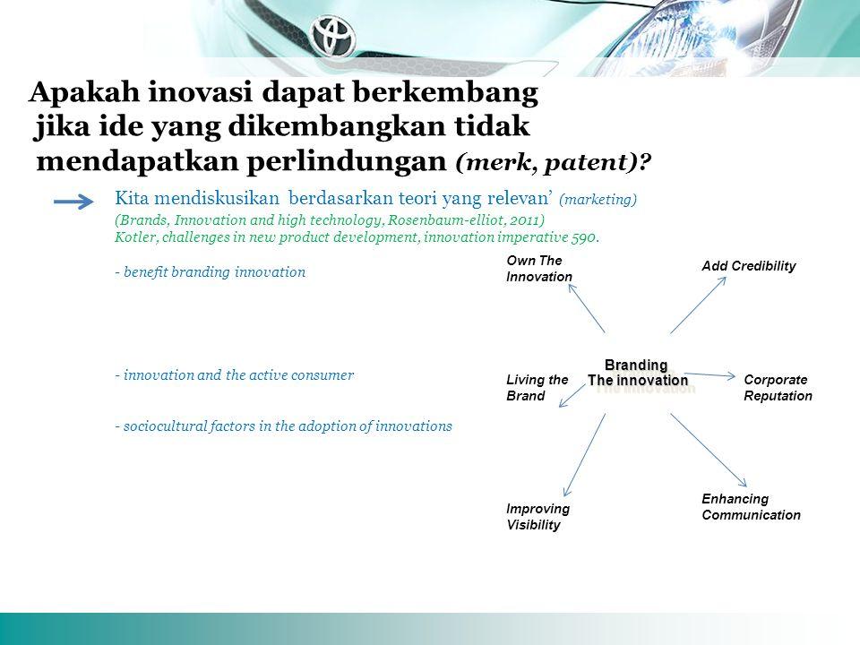 TMMIN Indonesia Apakah inovasi dapat berkembang jika ide yang dikembangkan tidak mendapatkan perlindungan (merk, patent).