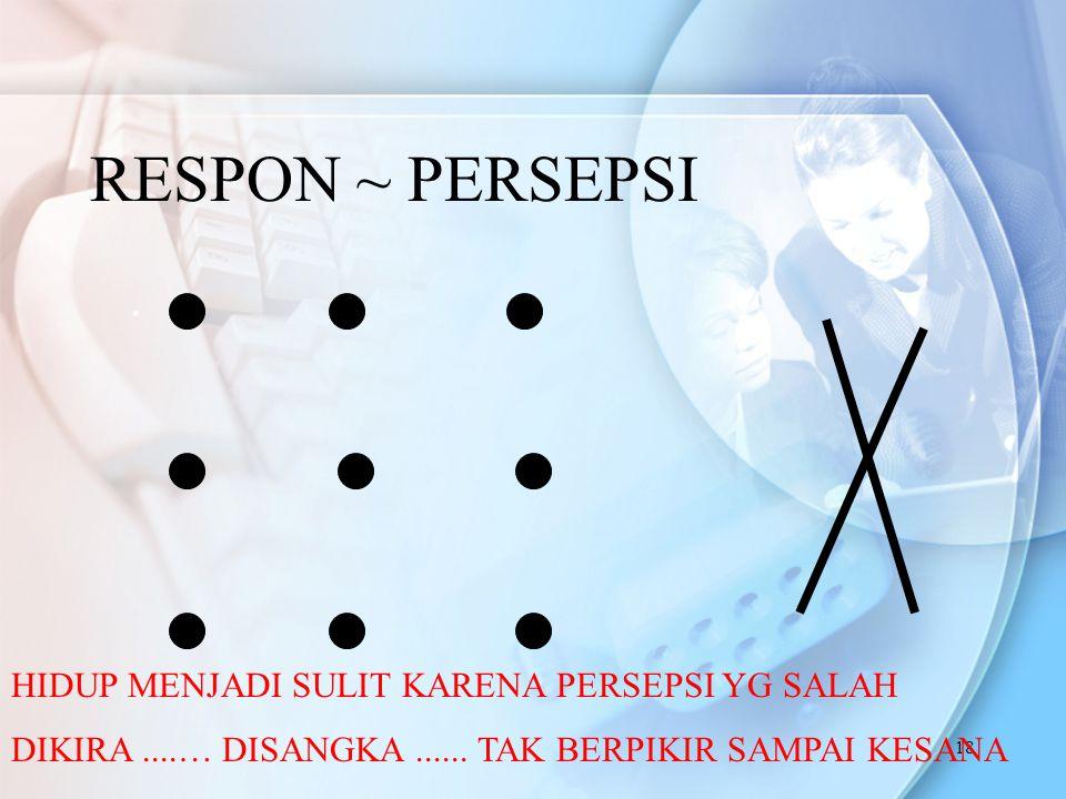 18 RESPON ~ PERSEPSI.HIDUP MENJADI SULIT KARENA PERSEPSI YG SALAH DIKIRA....… DISANGKA......