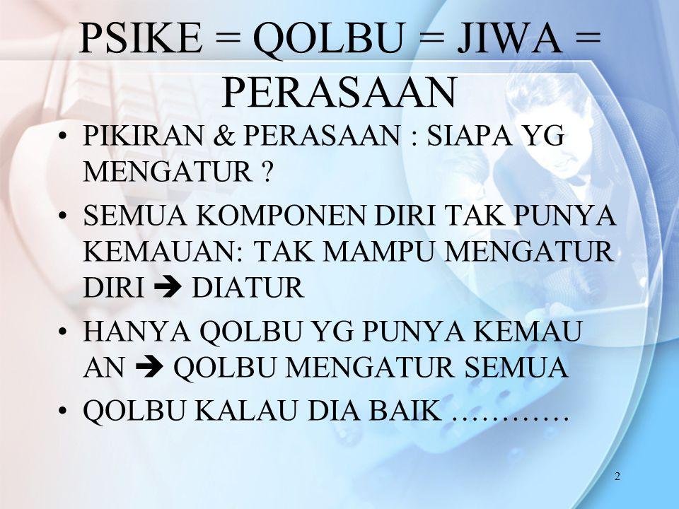 2 PSIKE = QOLBU = JIWA = PERASAAN PIKIRAN & PERASAAN : SIAPA YG MENGATUR .