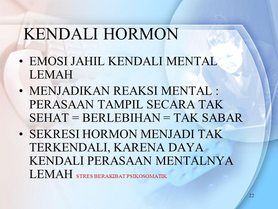 22 KENDALI HORMON EMOSI JAHIL KENDALI MENTAL LEMAH MENJADIKAN REAKSI MENTAL : PERASAAN TAMPIL SECARA TAK SEHAT = BERLEBIHAN = TAK SABAR SEKRESI HORMON