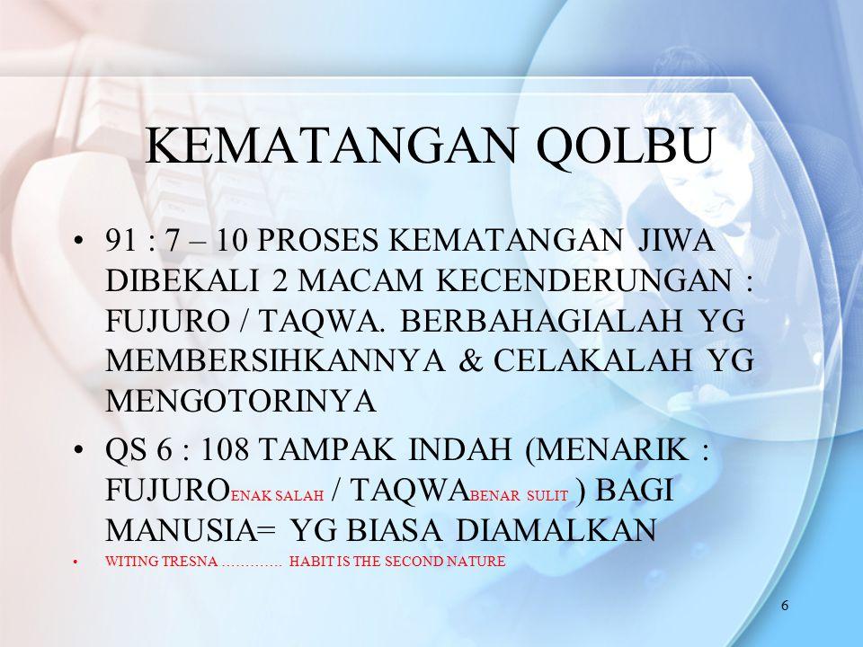 6 KEMATANGAN QOLBU 91 : 7 – 10 PROSES KEMATANGAN JIWA DIBEKALI 2 MACAM KECENDERUNGAN : FUJURO / TAQWA. BERBAHAGIALAH YG MEMBERSIHKANNYA & CELAKALAH YG