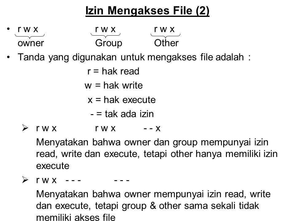 Izin Mengakses File (2) r w xr w xr w x owner GroupOther Tanda yang digunakan untuk mengakses file adalah : r = hak read w = hak write x = hak execute