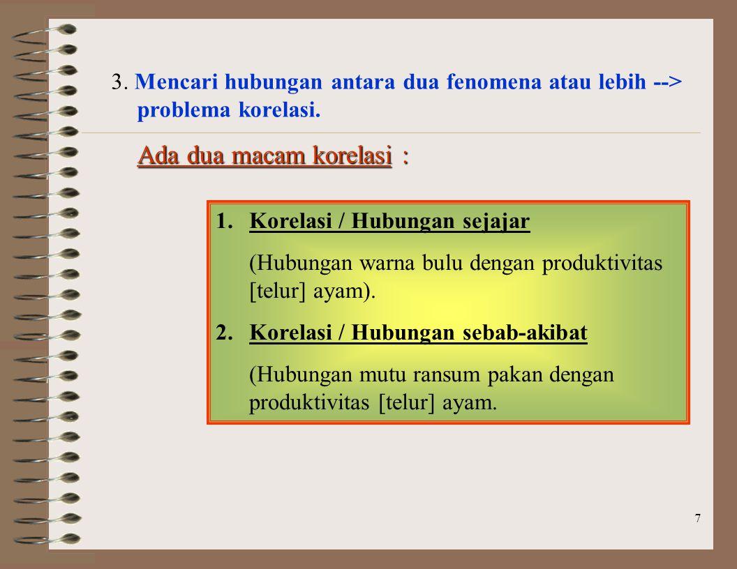 7 3.Mencari hubungan antara dua fenomena atau lebih --> problema korelasi.