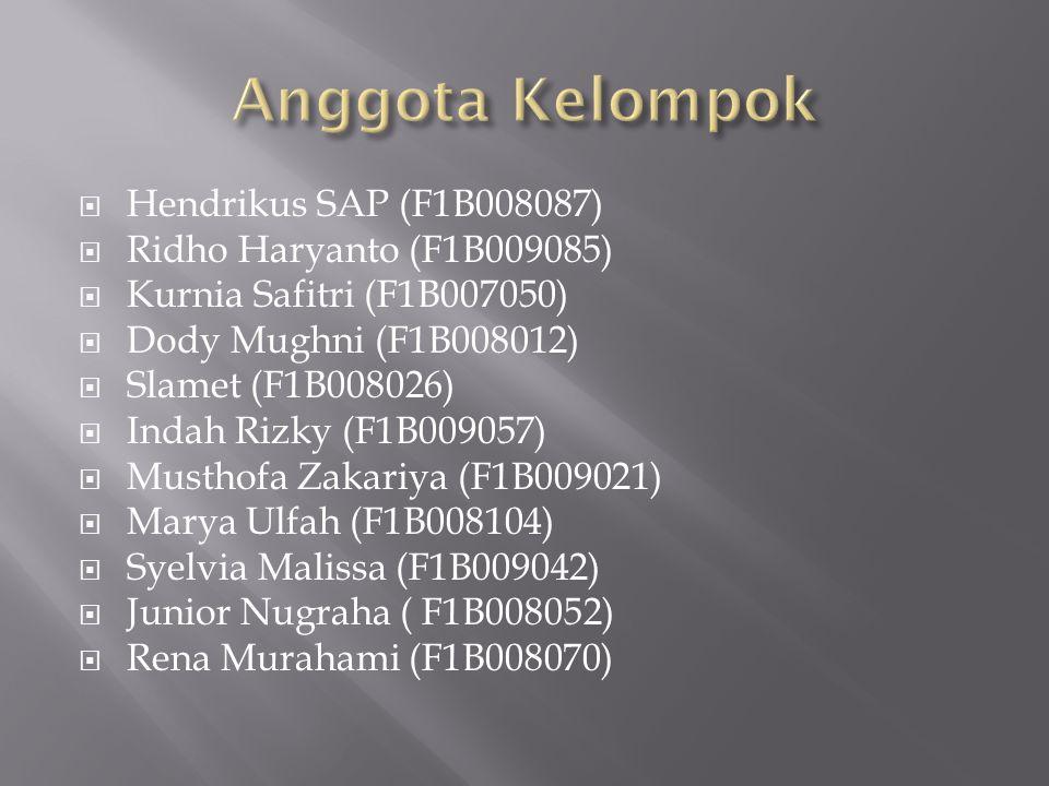  Hendrikus SAP (F1B008087)  Ridho Haryanto (F1B009085)  Kurnia Safitri (F1B007050)  Dody Mughni (F1B008012)  Slamet (F1B008026)  Indah Rizky (F1B009057)  Musthofa Zakariya (F1B009021)  Marya Ulfah (F1B008104)  Syelvia Malissa (F1B009042)  Junior Nugraha ( F1B008052)  Rena Murahami (F1B008070)