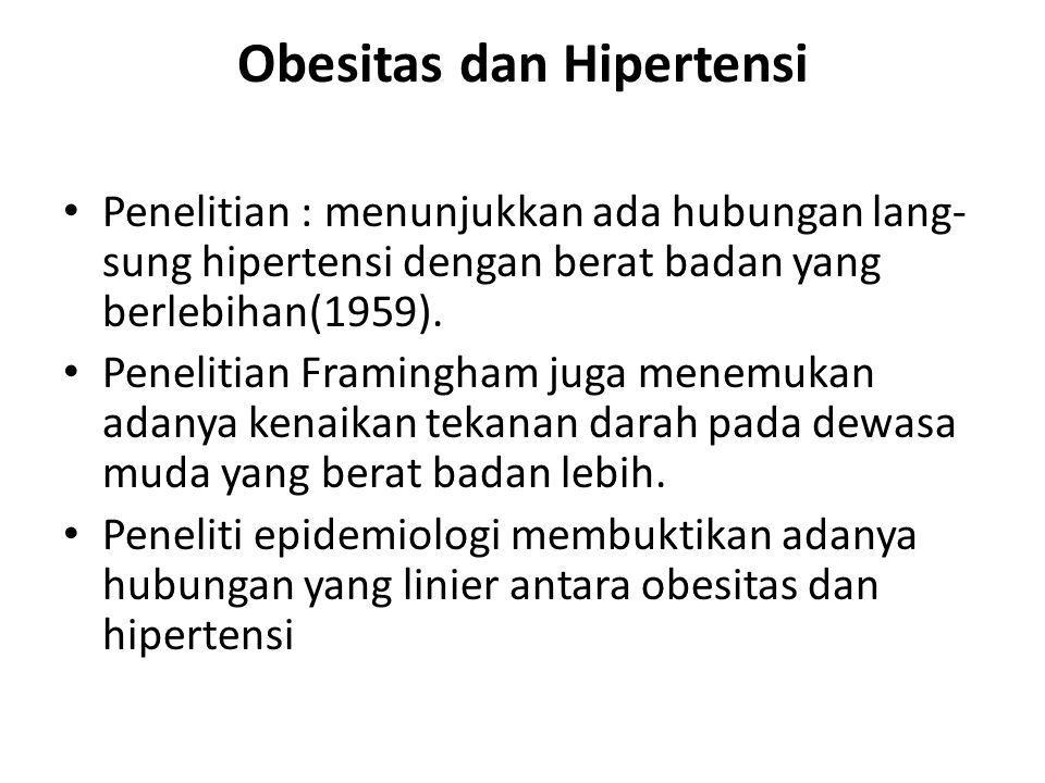 Obesitas dan Hipertensi Penelitian : menunjukkan ada hubungan lang- sung hipertensi dengan berat badan yang berlebihan(1959). Penelitian Framingham ju