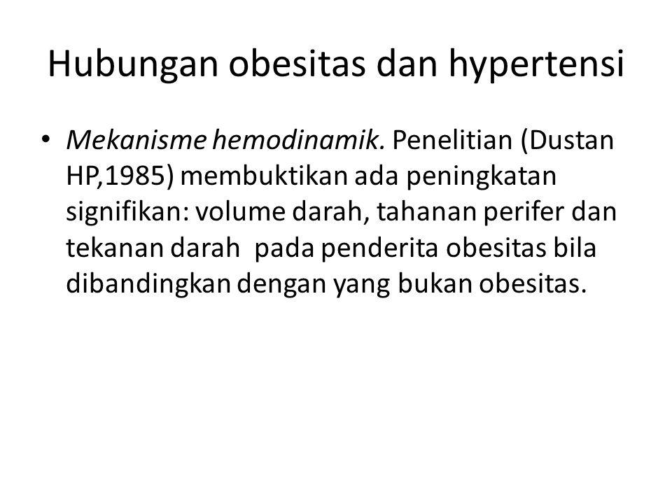 Hubungan obesitas dan hypertensi Mekanisme hemodinamik. Penelitian (Dustan HP,1985) membuktikan ada peningkatan signifikan: volume darah, tahanan peri