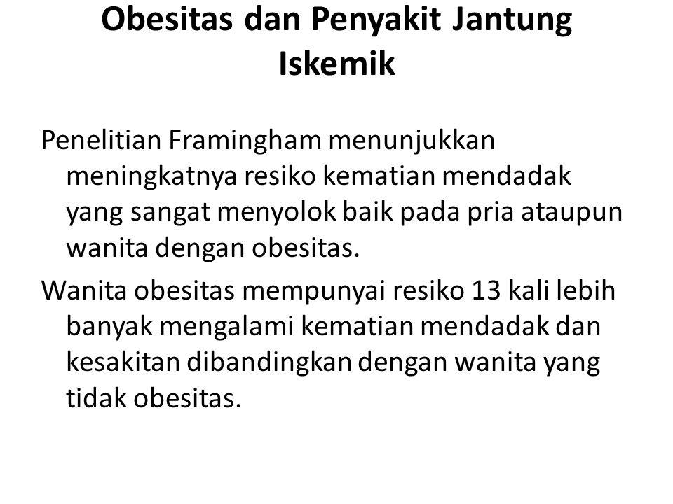 Obesitas dan Penyakit Jantung Iskemik Penelitian Framingham menunjukkan meningkatnya resiko kematian mendadak yang sangat menyolok baik pada pria atau