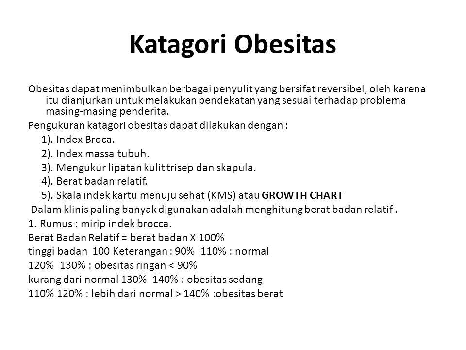 Katagori Obesitas Obesitas dapat menimbulkan berbagai penyulit yang bersifat reversibel, oleh karena itu dianjurkan untuk melakukan pendekatan yang se