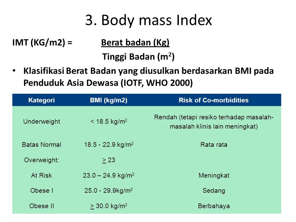 3. Body mass Index IMT (KG/m2) = Berat badan (Kg) Tinggi Badan (m 2 ) Klasifikasi Berat Badan yang diusulkan berdasarkan BMI pada Penduduk Asia Dewasa