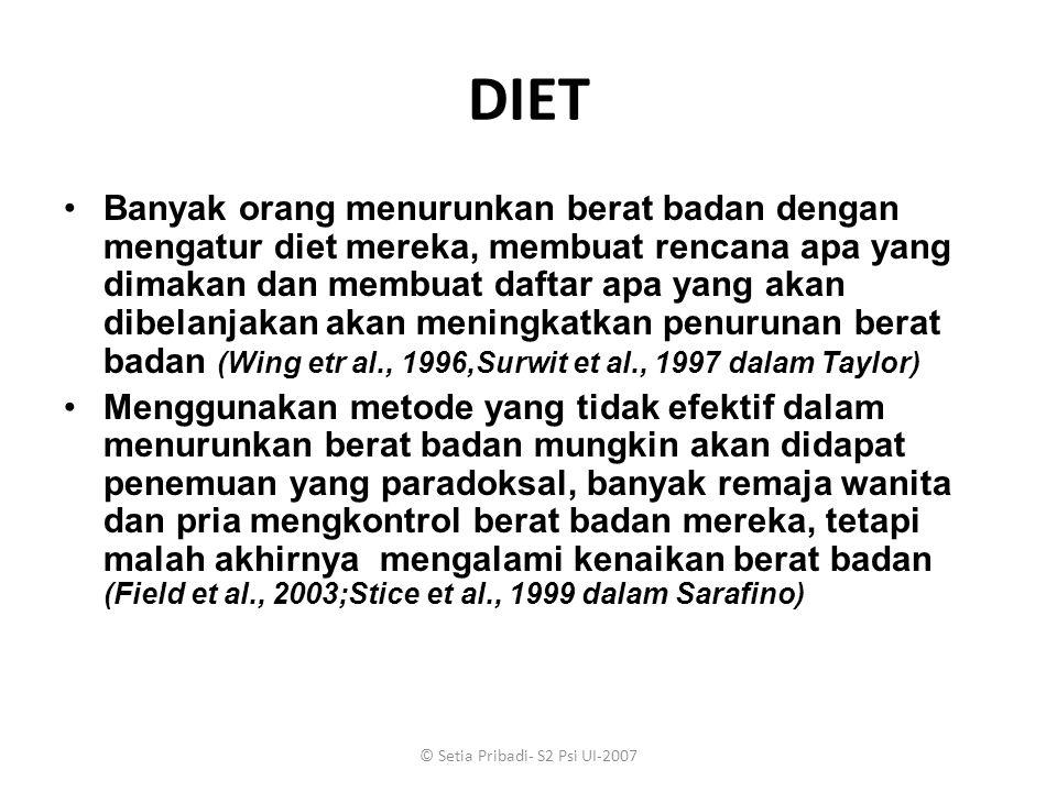 © Setia Pribadi- S2 Psi UI-2007 DIET Banyak orang menurunkan berat badan dengan mengatur diet mereka, membuat rencana apa yang dimakan dan membuat daf