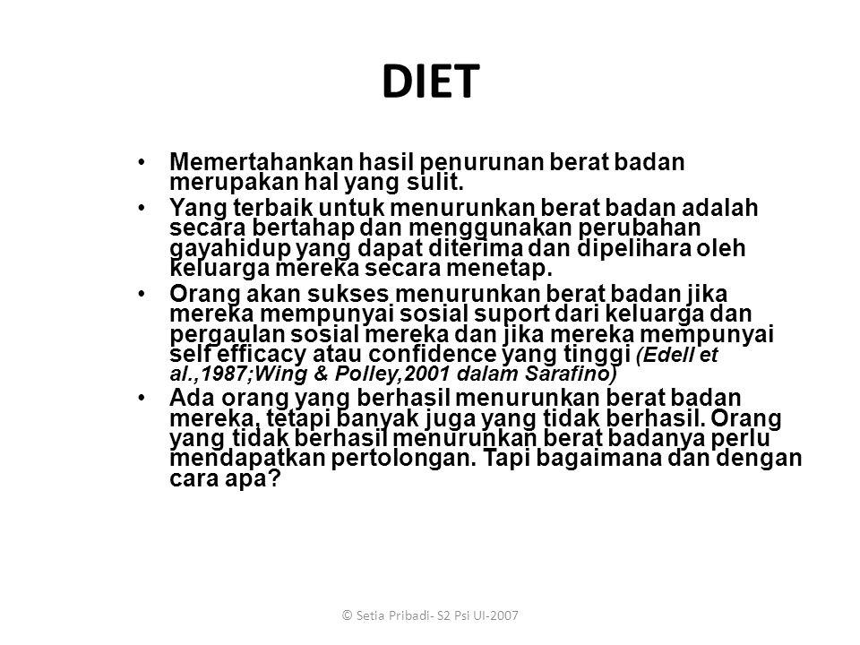 © Setia Pribadi- S2 Psi UI-2007 DIET Memertahankan hasil penurunan berat badan merupakan hal yang sulit. Yang terbaik untuk menurunkan berat badan ada