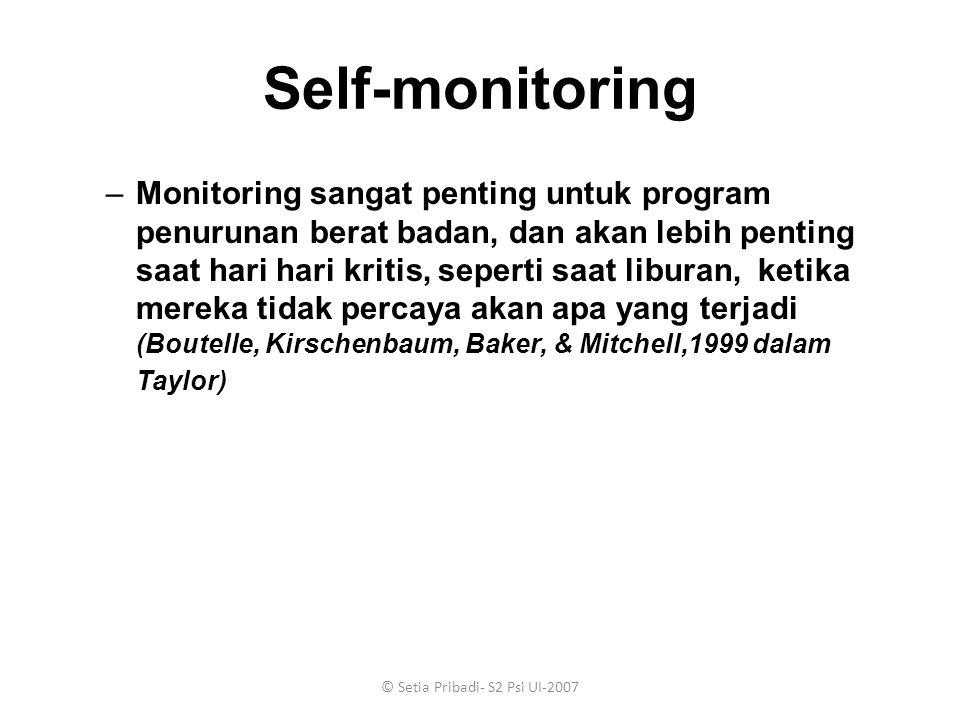 © Setia Pribadi- S2 Psi UI-2007 Self-monitoring –Monitoring sangat penting untuk program penurunan berat badan, dan akan lebih penting saat hari hari