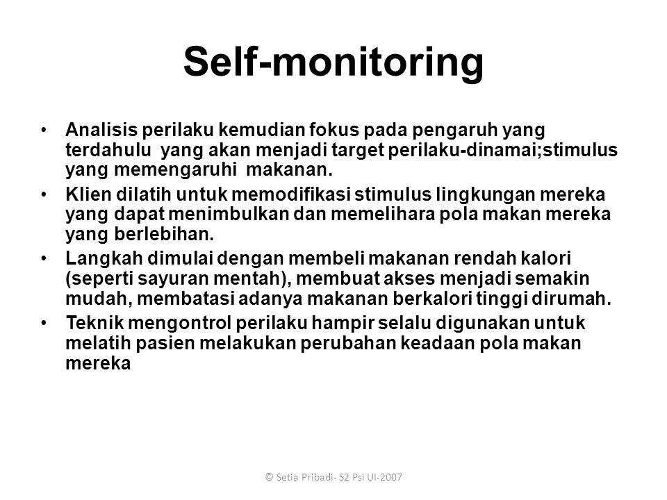 © Setia Pribadi- S2 Psi UI-2007 Self-monitoring Analisis perilaku kemudian fokus pada pengaruh yang terdahulu yang akan menjadi target perilaku-dinama