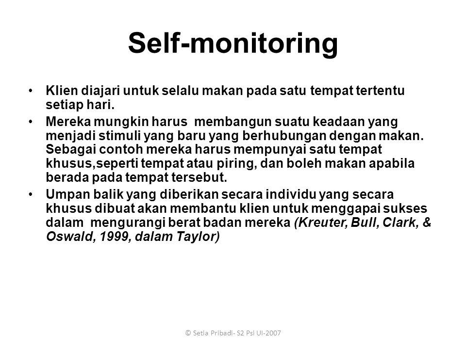 © Setia Pribadi- S2 Psi UI-2007 Self-monitoring Klien diajari untuk selalu makan pada satu tempat tertentu setiap hari. Mereka mungkin harus membangun