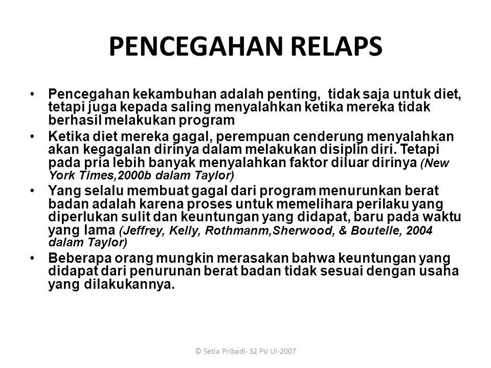 © Setia Pribadi- S2 Psi UI-2007 PENCEGAHAN RELAPS Pencegahan kekambuhan adalah penting, tidak saja untuk diet, tetapi juga kepada saling menyalahkan k