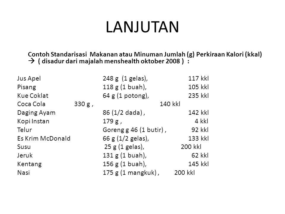 LANJUTAN Contoh Standarisasi Makanan atau Minuman Jumlah (g) Perkiraan Kalori (kkal)  ( disadur dari majalah menshealth oktober 2008 ) : Jus Apel248