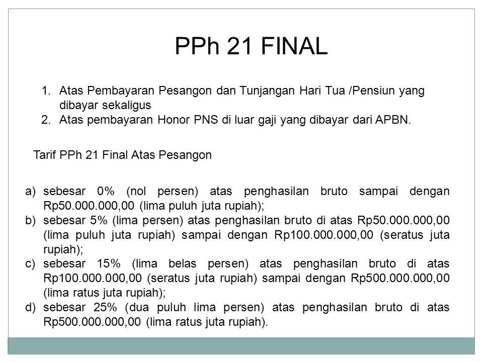 PPh 21 FINAL 1.Atas Pembayaran Pesangon dan Tunjangan Hari Tua /Pensiun yang dibayar sekaligus 2.Atas pembayaran Honor PNS di luar gaji yang dibayar d