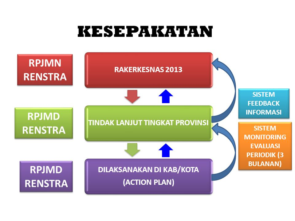 KESEPAKATAN RAKERKESNAS 2013TINDAK LANJUT TINGKAT PROVINSI DILAKSANAKAN DI KAB/KOTA (ACTION PLAN) SISTEM FEEDBACK INFORMASI SISTEM MONITORING EVALUASI